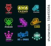 neon light poker club and... | Shutterstock . vector #536453356