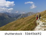 two women on mountain trail | Shutterstock . vector #536456692