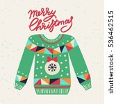 cute ugly christmas sweater.... | Shutterstock .eps vector #536462515