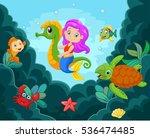cartoon little mermaid playing... | Shutterstock .eps vector #536474485