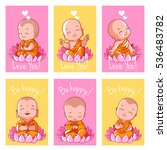 Set Of Cute Cards With Buddha....