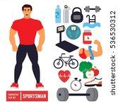 fitness character set. athlete... | Shutterstock .eps vector #536530312