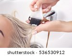 hairdresser putting mask on... | Shutterstock . vector #536530912