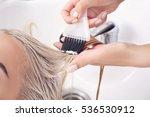 hairdresser putting mask on... | Shutterstock . vector #536530912
