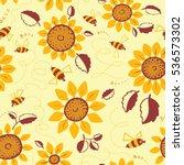 decorative vector sunflowers... | Shutterstock .eps vector #536573302