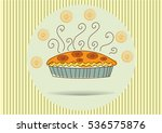 pie from oranges menu item  line | Shutterstock .eps vector #536575876