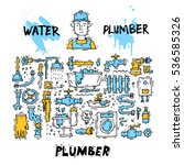 plumber different tools and... | Shutterstock .eps vector #536585326