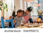 dad and daughter baking... | Shutterstock . vector #536590072
