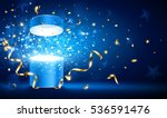 open gift with gold ribbons and ...   Shutterstock .eps vector #536591476