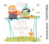 couple in love celebrating... | Shutterstock .eps vector #536594806