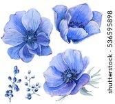 handpainted watercolor flowers... | Shutterstock . vector #536595898