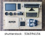 outfit of a stylish traveler or ... | Shutterstock . vector #536596156