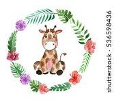 cute baby giraffe animal for... | Shutterstock . vector #536598436