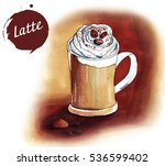 mug of latte on a brown... | Shutterstock . vector #536599402