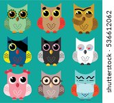 set of cute owls  colorful... | Shutterstock .eps vector #536612062