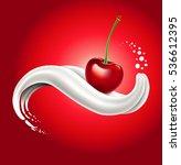 milk splash with cherry lying... | Shutterstock .eps vector #536612395