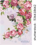 floral frame with pink peonies... | Shutterstock .eps vector #536618662