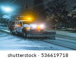 Snow Truck Working At Night On...