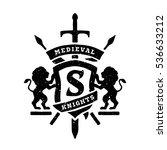 heraldic emblems  shields lions ... | Shutterstock .eps vector #536633212