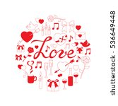 round linear doodle love | Shutterstock .eps vector #536649448