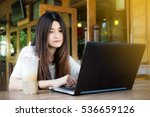 attractive asian woman working... | Shutterstock . vector #536659126