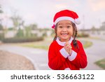 Happy Little Girl In Santa...