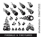 fireballs and flame silhouette...   Shutterstock .eps vector #536671522
