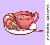 hand drawn breakfast. coffee...   Shutterstock .eps vector #536680996