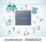 Stock vector baby boy shower card arrival card with place for your photo 536682625