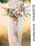 Big Wedding Bouquet In Hands O...