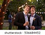 gay couple celebrating wedding... | Shutterstock . vector #536684452