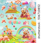 sweet candy land. cartoon game... | Shutterstock .eps vector #536710852