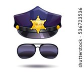 cartoon police cap with golden... | Shutterstock .eps vector #536723536