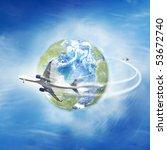 airplane flying around the globe   Shutterstock . vector #53672740