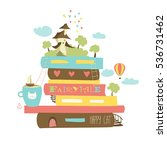 fairytale concept with book and ... | Shutterstock .eps vector #536731462