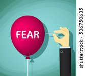 man bursts a balloon with the... | Shutterstock .eps vector #536750635