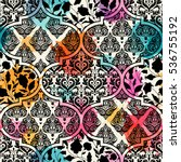 seamless pattern in vintage... | Shutterstock .eps vector #536755192
