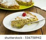 slice of apple pie on white... | Shutterstock . vector #536758942