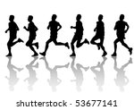 vector drawing running athlete... | Shutterstock .eps vector #53677141