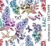 seamless tropical flowers...   Shutterstock . vector #536776498