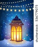 amazing vintage lantern on snow ... | Shutterstock .eps vector #536779075