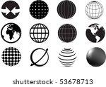 set of black and white globe... | Shutterstock .eps vector #53678713