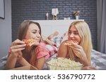 girls having dinner in bed | Shutterstock . vector #536790772