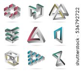 impossible shapes set. colorful ... | Shutterstock .eps vector #536792722