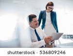 two confident businesspeople... | Shutterstock . vector #536809246