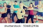 Small photo of Adult people learning aerobic steps in dance hall