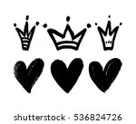 vector set of hand drawn hearts ... | Shutterstock .eps vector #536824726