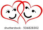 two hearts with smileys ... | Shutterstock . vector #536828302