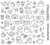hand drawn doodle tea time icon ... | Shutterstock .eps vector #536870422