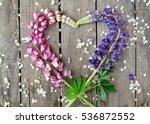 heart wreath of purple  pink... | Shutterstock . vector #536872552